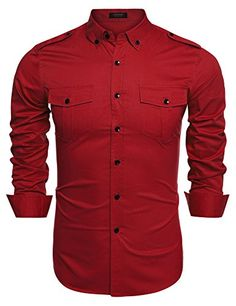 Coofandy Men's Casual Long Sleeve Solid Button Down Shirt with Pockets(Red,S)
