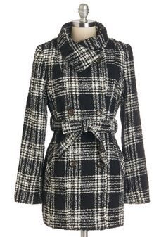 Field Representative Coat. As your companys public face, you look professional and poised in this plaid wool-blend pea coat. #black #modcloth