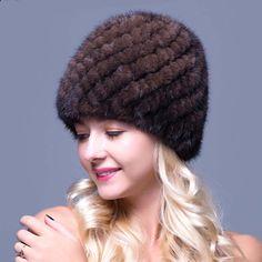 Genuine Mink Fur Women's Knitted Cap Russian Women Luxury Knit Mink Fur Hat Winter Real Fur Hat Fashion Women Winter Headgear