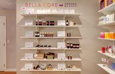 Bella Fiore Spa retail display in reception area #shelving #display #whiteshelves #interiordesign #seattle