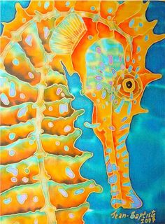 There's nothing better for a seahorse fan than finding gorgeous pieces of seahorse art or seahorse pictures to decorate your home. Seahorse Painting, Seahorse Art, Seahorses, Fabric Painting, Fabric Art, Sea Life Art, Batik Art, Silk Art, Ocean Art