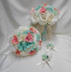 Wedding silk flower bridal bouquet 18 pieces package ivory mint rose wedding silk flower bridal bouquet 18 pieces package ivory mint rose coral mini orchid bride bridesmaid boutonnieres corsages mightylinksfo