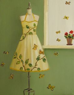 Caterpillar To A Butterfly Halter Dress by Janet Hill (Original Oil Painting on Stretched Canvas, 7 x Janet Hill, Dress Painting, Canadian Painters, Art Themes, Vintage Glamour, Timeless Beauty, Girly Girl, Summer Dresses, Formal Dresses
