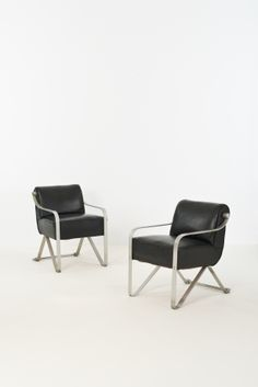 Marcel Coard; Aluminium and Leather Armchairs for Institutions Brasseur, 1930.
