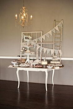 Vintage wedding dessert display idea - antique table with burlap bunting and repurposed windows {Saleina Marie Photography} Vintage Dessert Tables, Wedding Cake Table Decorations, Wedding Desserts, Wedding Cakes, Modern Wedding Theme, Farm Wedding, Wedding Ideas, Wedding Reception, Decor Wedding
