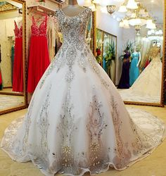 Hand-sewn Crystal wedding dress, Click photo for detail