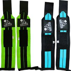 """Wrist Wraps (2 Pairs/4 Wraps) 14\"""" for Weightlifting   CrossFit   Powerlifting -For Women & Men -Premium Quality for Best Hand Strength & Support -Guard & Brace Your Wrists-Blue & Lime, 1 Year Warranty ** Check out this great product."""