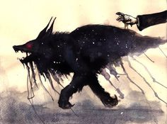 """""""I am the fallen nebulae, night coloured hound..."""" ------- The Barghest, the """"other side"""" of the Necromancer. More concepts from the books I currently work on. This time is just a little watercolou..."""