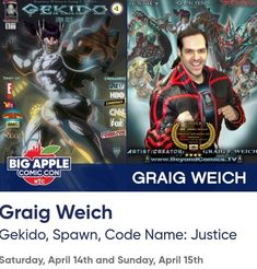 INVITE: TODAY! COMIC-CON & CELEBS SIGNING: TIX: www.BigAppleCC.com . Sat & Sun April 14th & 15th in NYC. . . FOLLOW ME:  www.BeyondComics.TV  www.Instagram.com/GraigWeich  www.FaceBook.com/Graig.Weich  www.Twitter.com/BeyondComics  www.YouTube.com/BeyondComicsTV . . Graig Weich is an independent comicbook artist/writer/director (winner of HBO sponsored UAS Award) & featured in THE HUFFINGTON POST. Graig was poster artist for SPAWN #30 (Image Comics Todd McFarlane publisher: THE WALKING…