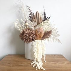Neutral Dried Flower Arrangement in white pot Dried Flower Bouquet, Dried Flowers, Faux Flowers, Silk Flowers, Fleurs Diy, White Pot, Dried Flower Arrangements, Paper Flowers Diy, How To Preserve Flowers