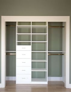 closet idea-can do this to existing closet with divider and a few drawers. Maybe change out the doors? - Picmia