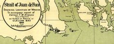 #nautical #Map of the Strait of Juan de Fuca showing #shipwrecks (1895)