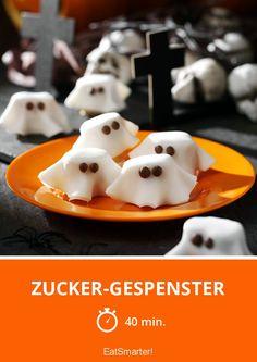 Zucker-Gespenster - smarter - Zeit: 40 Min.   eatsmarter.de Halloween Backen, Eat Smarter, Halloween Party, Pudding, Eggs, Breakfast, Desserts, Food, Egg