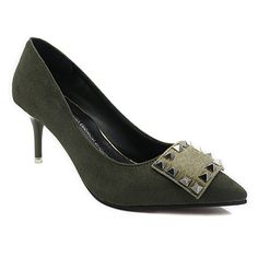 SHARE & Get it FREE | Office Lady Rivet and Suede Design Women's PumpsFor…