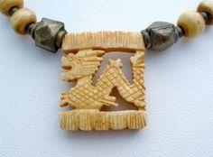 Vintage Hand Carved Dragon Necklace Yak Bone Figural Bead Hand Tibetan   eBay