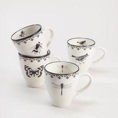 Letterpress Mugs, Set of 4