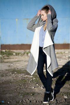 Płaszcz-bluza Duster Coat, Raincoat, Jackets, Vintage, Fashion, Down Jackets, Moda, Fashion Styles