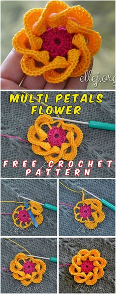 Multi Petals Crochet Flower - This is cozy crochet flower with the pattern and tutorial! You will love these flowers because they can give a cute and exciting feeling to any crochet project you'll start to do! These flowers are really easy tocrochet. #crochet #freepattern
