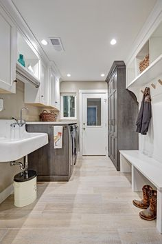 HGTV presents a transitional home where exposed brick, farmhouse details and lots of rustic natural wood finishes create a country look with a contemporary twist. Laundry Room Design, Laundry Decor, Laundry Room With Storage, Laundry Room With Cabinets, Mudrooms With Laundry, Laundry Room Layouts, Laundry Room Sink, Laundry Room Remodel, Laundry Area