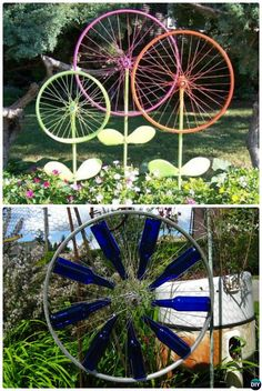 DIY Bicycle Wheel Garden Art-20 Colorful Garden Art DIY Decorating Ideas. [IF you were a yarn enthusiast, what about weaving yarn patterns between the spokes, then coating or spraying the art with a waterproofing solution?  Vinyl?  Willow branches?]