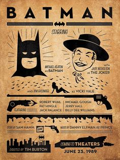 Batman 1989 12x16 Gig Style Print by Wonderbros on Etsy