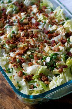 Make-Ahead Salad Casserole – 12 Tomatoes Salad Bar, Soup And Salad, Make Ahead Salads, Cooking Recipes, Healthy Recipes, Cooking Tips, Potluck Recipes, Yummy Recipes, Recipies