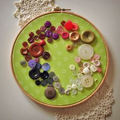 vintage buttons on embroidery hoop