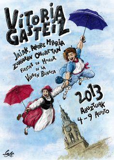 Propuesta de cartel para las Fiestas en Honor de la Virgen Blanca de Vitoria-Gasteiz (2013) - Poster suggestion for the White Virgin Festivity at Vitoria-Gasteiz (2013 - by Left (left.ilustracion@gmail.com)  #illustration