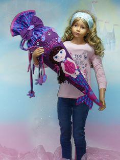 NR 188 Schultüte Meerjungfrau aus Stoff mit Kissen 70/100cm Lila Pink Blau Muscheln Seestern Einschulung FeenkleidDesign