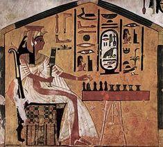 Senet game shown in painting in tomb of Egyptian Queen Nefertari (1295-255BC) Maler der Grabkammer der Nefertari 003.jpg