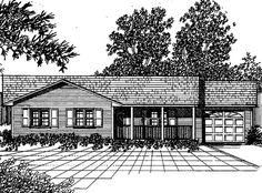 Country House Plan with 1055 Square Feet and 3 Bedrooms(s) from Dream Home Source | House Plan Code DHSW12776