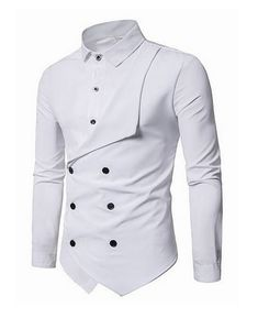 Men Shirt Brand Personality Double-breasted Fake Two Shirt Formal Solid Color Slim Fit Cotton Long Sleeve Dress Shirts Camisa Slim Fit Dress Shirts, Fitted Dress Shirts, Slim Fit Dresses, Long Sleeve Cotton Dress, Long Sleeve Shirt Dress, Indian Men Fashion, Mens Fashion Suits, Cool Shirts For Men, Men Shirts