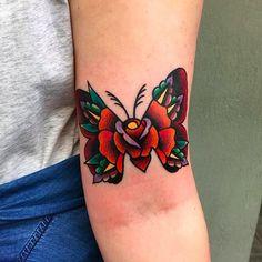 Awesome looking moth and rose tattoo by Chris Papadakis. Key Tattoos, Dope Tattoos, Forearm Tattoos, Unique Tattoos, Beautiful Tattoos, Body Art Tattoos, Hand Tattoos, Small Tattoos, Sleeve Tattoos