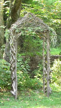 i can use all the twigs and branches from pruning to make this arbor. maybe.