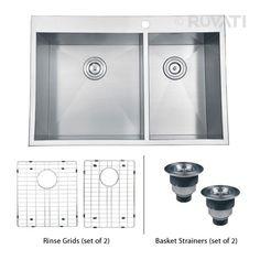 """Ruvati RVH8050 Overmount Stainless Steel 33"""" Kitchen Sink Double Bowl"""