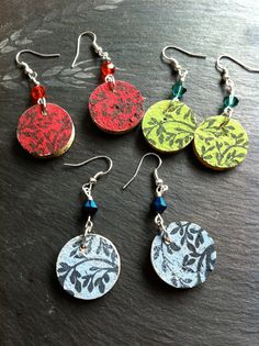 Stamped wine cork earrings with glass beads by WiredTilMidnight, $11.50