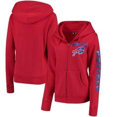 sale retailer 44280 d6910 Women s Buffalo Bills New Era Red Playbook Glitter Sleeve Full-Zip Hoodie