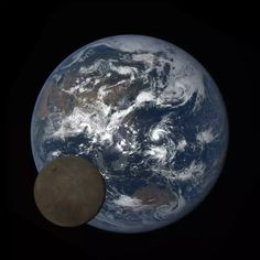 An image of the moon crossing in front of the full sunlit disk of Earth caught by NASA's Earth Polycromatic Imaging Camera (EPIC) onboard NOAA's Deep Space Climate Observatory.
