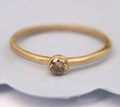 Champagne  Diamond, Gold  Ring, Engagement Diamond Ring, 14K Gold Ring Tula Jewelry. $260.00, via Etsy.