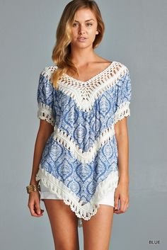 Printed Crochet Top - Blue