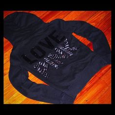 Selling this VS PINK BLING BLACK ZEBRA SEQUIN ZIP UP HOODIE M in my Poshmark closet! My username is: cmccullough9. #shopmycloset #poshmark #fashion #shopping #style #forsale #PINK Victoria's Secret #Jackets