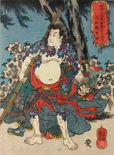 Японская гравюра :: 108 героев популярного романа Suikoden, гравюры Утагава Куниёси, японская татуировка на гравюрах Suikoden (ukiyo-e)