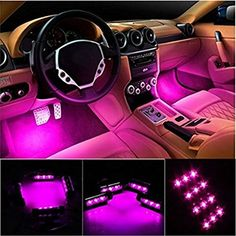 Car Interior Decoration Atmosphere Light Led Lighting Kit Waterproof Neon Lights Strip For Pink