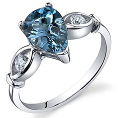 3 Stone 150 carats London Blue Topaz Ring in Sterling Silver Rhodium Nickel Finish Size 8 *** To view further for this item, visit the image link.