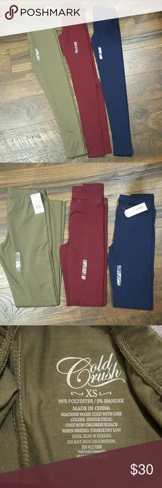 XS leggings lot NWT Army green by hybrid apparel NWT, Navy is NWT,  Maroon pair NWOT,  by Arizona Jean Co. Arizona Jean Company Pants Leggings