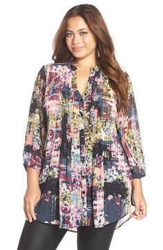 MELISSA MCCARTHY SEVEN7 Melissa McCarthy Print Tie Back Pintuck Blouse (Plus Size) available at #Nordstrom