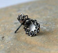 Chrysanthemum silver stud earrings on folksy