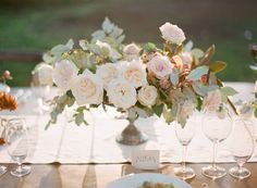 Centerpieces- organic shape like this, with peonies, ranunculus, etc. as well as the roses, with pops of the deep pink and eucalyptus