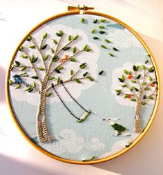 Personalise - Windy Day - Hand Embroidery Hoop Art ready for display - 8 x 8 Inch Hoop by mirrymirry