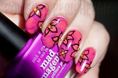 piCture pOlish Blog Fest 2013 mani art by Rebecca aka Polished Peripherals!  Features Flirt, Mad Magenta & Coral Reef  #ppblogfest2013  www.picturepolish.com.au